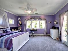 lavender color kids room with white canopy bed and furniture (marilena's choice)
