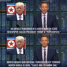 Foreign policy on North Korea...