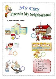 English worksheet: My City/ Places in my Neighborhood ( 2 Pages )