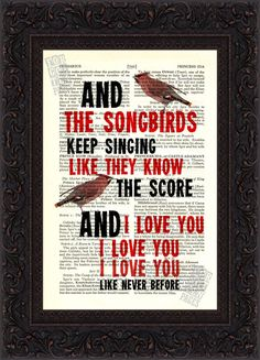 Fleetwood Mac Songbird  2 song lyric Print on upcycled Vintage Page $8.00, via Etsy.