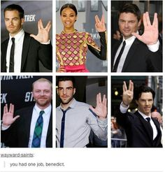 """""""I am better than you."""" """"At what?"""" """"Everything."""" """"Except making Vulcan hand signals."""" Lol Benedict why?"""