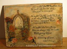 Brîndușa Art Fall/ autumn landscape with an inspirational quote by Ann Voskamp, about thankfulness to God - painting on wood. Thanksgiving and a personal choice, a new path to enter...  Peisaj de toamnă cu un citat din Ann Voskamp, despre recunoştinţă şi ce înseamnă să-I aduci mulţumiri lui Dumnezeu - pictură pe lemn. #woodpainting #picturapelemn #BrindusaArt #annvoskamp Painting On Wood, Shabby Chic, Cottage, Inspire, Landscape, Gallery, Inspiration, Home Decor, Art