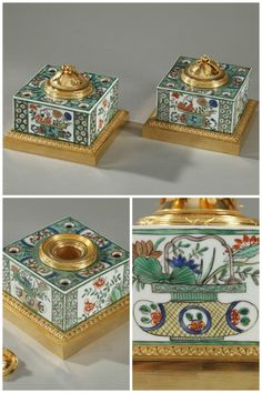 """Pair of Famille Verte Porcelain Inkwells by Samson -1683  Pair of """"famille verte""""porcelainand enamel inkwells decorated with flowerpots, foliage, and stylized rinceaux. Each inkwell is set on a gilt bronze base that is decorated with palmette, and bands embellished with interspaced latticework encircle the inkwell. The lids, which cover a glass receptacle for ink are sculpted with foliage  are topped with a rose-shaped handle. The corners are pierced with four holes which serve as pen…"""