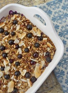 Blueberry Morning Glory Baked Oatmeal is wholesome, creamy, and delicious! Oats are baked with blueberries, grated apple and carrot, coconut, and pecans in coconut milk and maple syrup. It's a breakfast to be excited about.