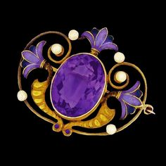 - Art Nouveau amethyst, pearl and enamel brooch. - Egyptian Revival amethyst and pearl-set enamelled brooch, Bijoux Art Nouveau, Art Nouveau Jewelry, Jewelry Art, Gold Jewelry, Jewelry Design, Purple Jewelry, Gold Bangles, Bridal Jewelry, Jewlery
