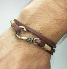Fish Hook Bracelet in  Brown Leather,Beige Rope,Unisex Bracelet,Bronze Fish Hook Bracelet, Anchor Bracelet, Men's and women's Bracelet