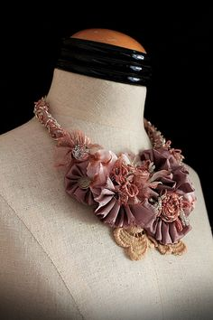 BESS Rose Mixed Media Statement Necklace by carlafoxdesign on Etsy, $275.00