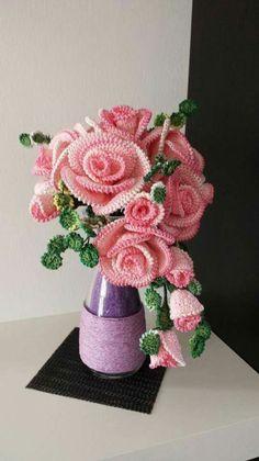 Best 12 Beautiful Crochet Flowers – Page 145804106673310530 Roses Au Crochet, Crochet Bouquet, Crochet Puff Flower, Crochet Flower Tutorial, Crochet Flowers, Diy Flowers, Diy Crochet Patterns, Crochet Diy, Crochet Motif