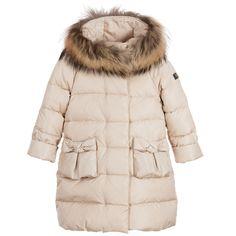 Il Gufo Girls Beige Down Padded Coat with Fur Trim at Childrensalon.com