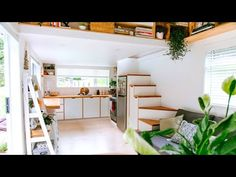 Absolutely Beautiful Flesh Tiny House For Sale by Shayes Tiny Homes - YouTube Handmade Kitchens, Custom Kitchens, Home Kitchens, Stair Storage, Built In Storage, Cavity Sliding Doors, Tiny House Big Living, Tiny Houses For Sale, Bedroom Loft
