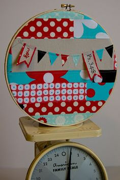 Patchwork in embroidery hoops - I really want to make a grouping of these for my studio... great way to showcase and always have some of my favorite fabrics