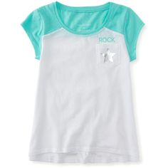 Aeropostale Kids' Metallic Raglan Graphic T ($10) ❤ liked on Polyvore featuring tops, t-shirts, bleach, star tee, graphic design t shirts, pocket t shirts, embellished tops and metallic top