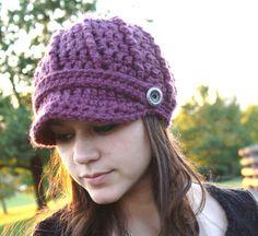 Crochet Newsboy Hat Fig by SoLaynaInspirations on Etsy