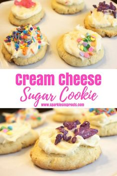 Cream Cheese Sugar Cookies are a perfect sweet treat for this summer.  Get the kids involved to make it a fun project that everyone will love. . #cookies #sugarcookies #creamcheese #sprinkles #recipe #sparklesnsprouts