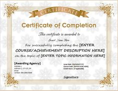 Download Certificate Certificate of Completion for MS Word DOWNLOAD at http://certificatesinn.com/certificates-of-completion/