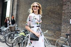 London Fashion Week street style Sheer white dress with floral colored and black embroidery
