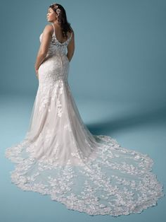 A stylish floral lace plus size mermaid wedding gown for the sophisticated bride designed by Maggie Sottero. Find your one-of-a-kind bridal gown today! Flattering Wedding Dress, Fitted Lace Wedding Dress, Lace Mermaid Wedding Dress, Wedding Dresses Plus Size, Dream Wedding Dresses, Bridal Dresses, Wedding Gowns, Bridal Gown, Boho Wedding