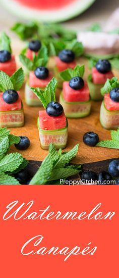 Watermelon Canapés are the perfect finger food appetizer for any picnic or party. via @preppykitchen