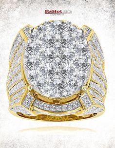This Celebrity Mens Diamond Ring by Luxurman available in gold, showcases 10 carats of round diamonds and weights 28 grams. Featuring an oversized design and a highly polished gold finish