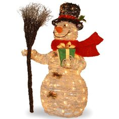 National Tree MZWR-35LO White Ratton Snowman Holding Gift and Broom with 70 Clear Outdoor Lights, 35-Inch