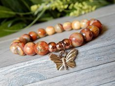 Gemstone Beaded Bracelet with Butterfly Charm
