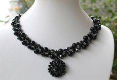 2in1 Elegant Black Sunflower Pendant & Necklace by XQdesigns, $6.00