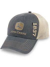 John Deere Dark Gray Cap with Khaki Mesh Back
