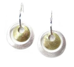 Takobia Silver Plated Brushed Satin Finish Two Tone 1 1/2 inch Bold Double Hoop Dangle Earrings  -