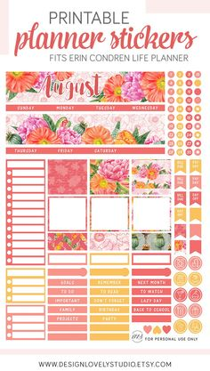 August Monthly Kit, August Monthly Stickers, August Planner Stickers, Printable Monthly Kit, for use with Erin Condren LifePlanner - Design Lovely Studio #erincondren #printable #erincondrenplanner #erincondrenstickers #monthlyspread