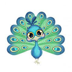 Cute Little Drawings, Art Drawings For Kids, Cute Bear Drawings, Easy Drawings, Bird Painting Acrylic, Fabric Painting, Cartoon Mignon, Peacock Drawing, Art Fantaisiste