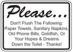 Bathroom Sign Please Flush Only Toilet Paper Signs