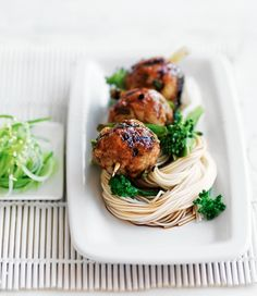 Yakitori Chicken Meatballs with Noodles.