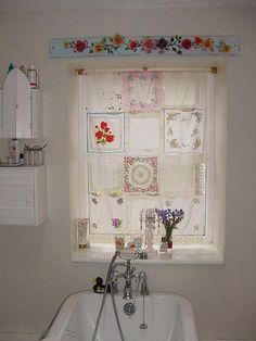 "Nowadays, more and more people are utilizing the ""shabby chic"" approach to interior design and decoration. Decor, Vintage House, Shabby, Shabby Chic Bathroom, Home Decor, Curtains, Inspiration, Vintage Linens, Vintage Sheets"