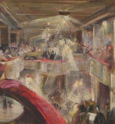 Taneční Bar / Dance Bar, 1920, Maxim Kopf. Czech (1892 - 1958) Oil on Cardboard -   Via:  Oblastní galerie v Liberci