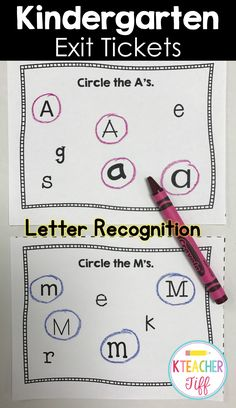 Kindergarten exit tickets make a great quick letter recognition assessment!