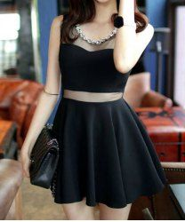 $10.30 Sleeveless Solid Color Round Collar Slimming Mesh Splicing Sexy Dress For Women