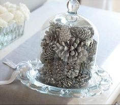 Christmas Pizzazz: White Pine Cones Under Glass?....weave income battery operated Fantasia Fairy Lights for a little twinkle