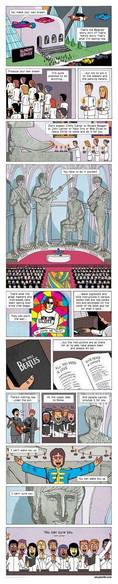 Well done Gav. If you're not familiar with Zen Pencils, get to work immediately. 136 bits of wisdom presented in bite-sized comics.  #136. JOHN LENNON: Produce your own dream