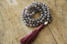 sterling silver & labradorite, tranformation and trust, knotted gemstone japa, prayer beads, 108 mala beads, yoga necklace