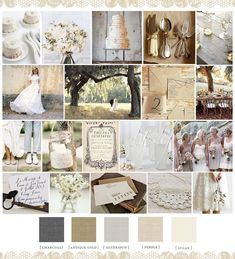 {:: Soft, vintage, and organic ::} Lots of burlap, muslin and lace, mason jars and twinkle lights….and a very neutral, muted color palate made up of shades of grey, ivory and tan.