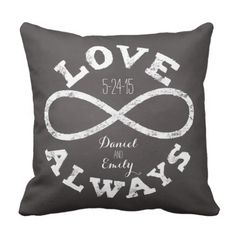 Chalkboard Infinity Love Wedding ceremony Date and Names Throw Pillow.  Discover even more at the photo link