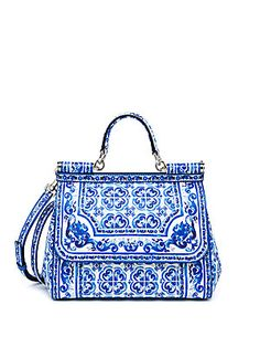 LOVE THIS Dolce & Gabbana Sicily Medium Italian Tile Textured Leather Top-Handle Satchel