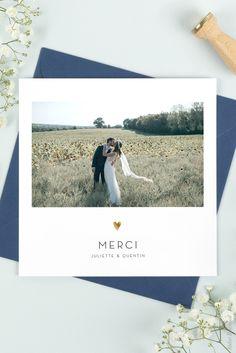 Carte de remerciement mariage Élégant cœur (dorure) Atelier Rosemood #Carte de #remerciement #mariage #dorure #thank #you #cards #wedding #atelierrosemood