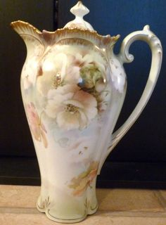 RS Prussia Chocolate Pot Poppies Iridescent Gold Accents Amazing Piece | eBay