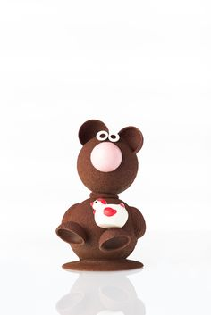 Miley the dark chocolate bear with white chocolate rooster