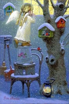 Little Angel Expectations, de Victor Nizovtsev Christmas Angels, Christmas Art, Winter Christmas, Vintage Christmas Cards, Vintage Cards, Victor Nizovtsev, Illustration Noel, I Believe In Angels, Angel Pictures