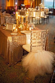 Lace and Tulle chair cover, sequin tablecloth, sweetheart table. I would do the chair cover for my bridal shower not wedding. Perfect Wedding, Dream Wedding, Wedding Day, Trendy Wedding, Sparkle Wedding, Wedding Flowers, Wedding Gold, Gatsby Wedding, Party Wedding