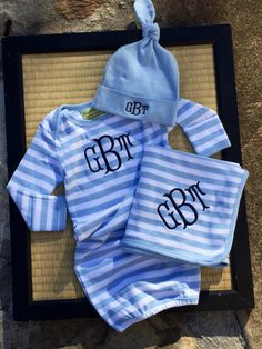 3 piece monogrammed baby boy gown gift set.  Baby by doodlegirls