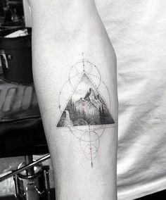Cool Male Geometric Mountain Tattoo Designs