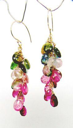 14k gold yummy tourmaline briolette cluster earrings by CAPGEMS2, $145.00